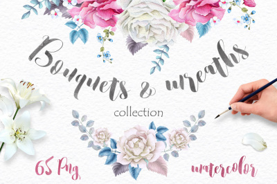 Watercolor Wreaths and Bouquets collection