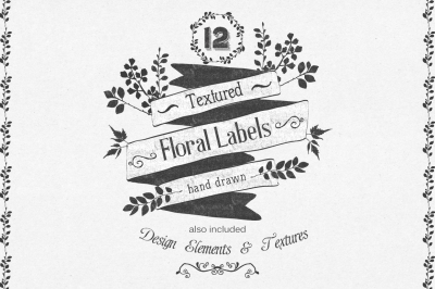 Hand Drawn floral labels and design