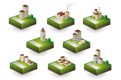 Set of industrial icons isometric
