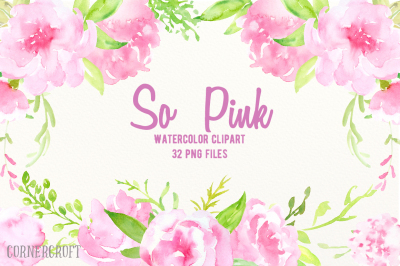Watercolor Clip Art So Pink