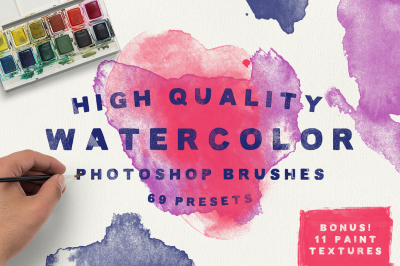 Watercolor Brushes + Bonus Textures!