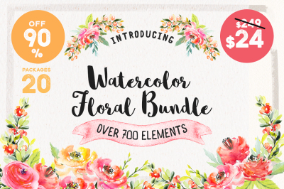 Watercolor Floral Bundle 90% OFF