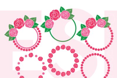 Rose, Flower Circle Monogram Frames - SVG, DXF, EPS and PNG - Cutting Files