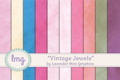 Vintage Jewels Digital Scrapbook Paper