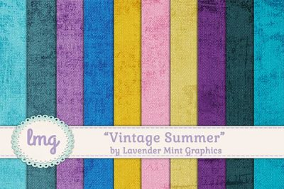Vintage Summer Digital Paper Backgrounds