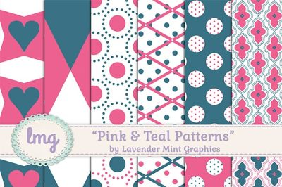 Pink and Teal Digital Patterned Paper