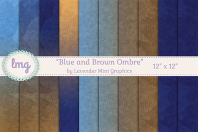 Blue and Brown Ombre Gradient Digital Papers