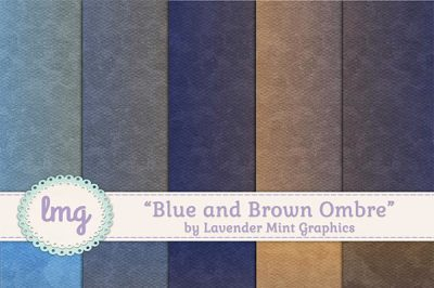 Blue and Brown Ombre Digital Papers