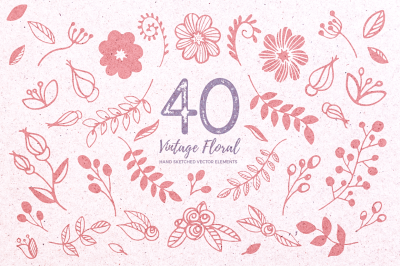 Vector Vintage Floral with Bonus Elements & Patterns