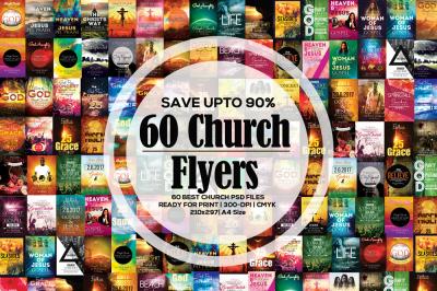 60 Glorious God Church Flyer Bundle