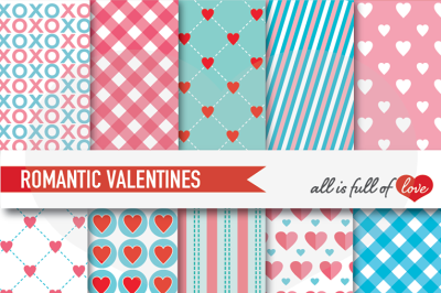 Valentines Day Background Patterns Coral & Turquoise Digital Paper Pack