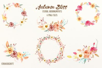 Watercolor Autumn Floral Arrangements
