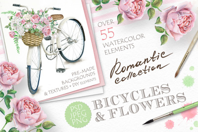 50%OFF Watercolor Bicycles and Flowers