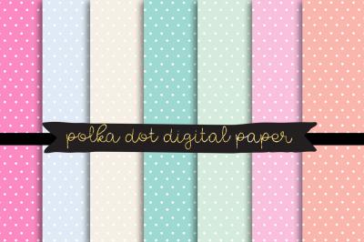 polka dot digital paper, pastel polkadot texture,