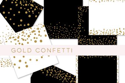 Gold glitter confetti paper, confetti border, gold glitter paper, Digital paper, glitter Digital paper, confetti digital papers