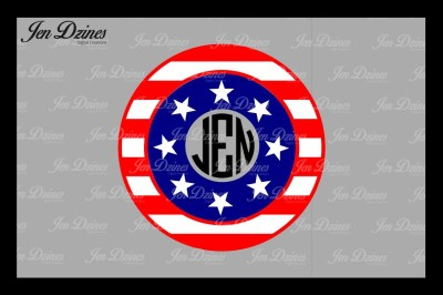 Flag Monogram Frame SVG DXF EPS PNG