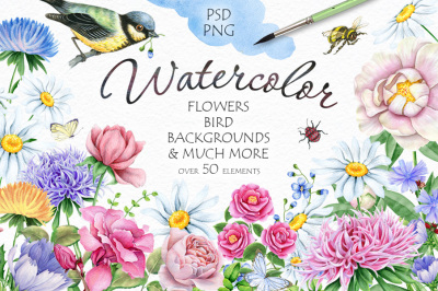 30%OFF Watercolor Flowers and Bird