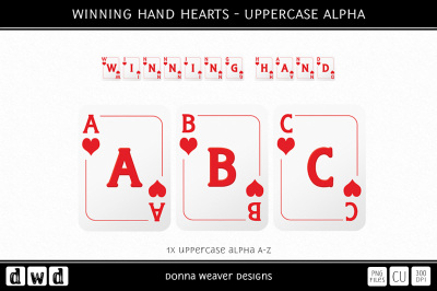 WINNING HAND HEARTS - Uppercase Alpha