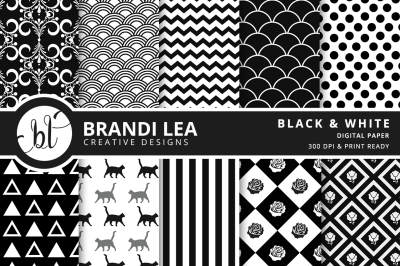 Black and White Patterned Digital Paper