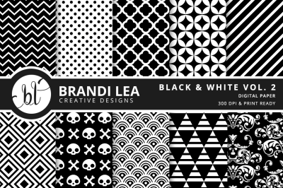 Black & White Vol. 2 Patterned Digital Paper