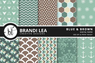 Blue & Brown Patterned Digital Paper