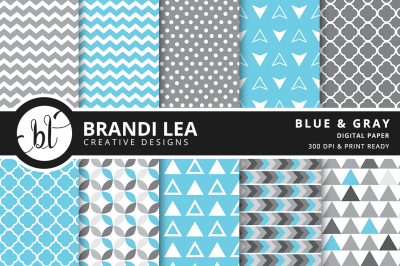 Blue & Gray Patterned Digital Paper