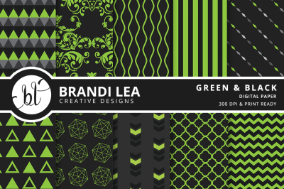 Green and Black Patterned Digital Paper