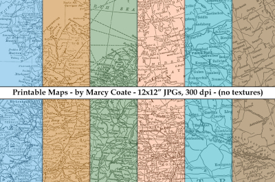 Map Backgrounds - Printable Set of 6