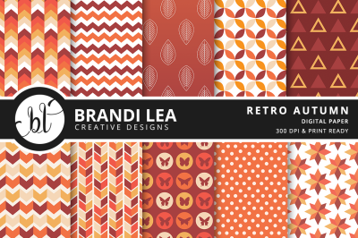 Retro Autumn Patterned Digital Paper
