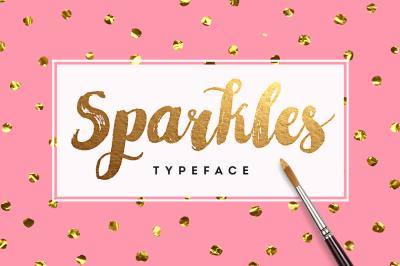 Sparkles Brush Font + Foil Texture