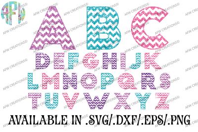Chevron Pattern Letters - SVG, DXF, EPS Cut Files