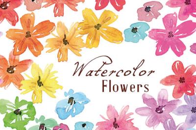 Watercolor Flowers, hand painted meadow