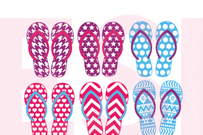 Patterned Flip Flop Designs - SVG, DXF, EPS  - Cutting Files