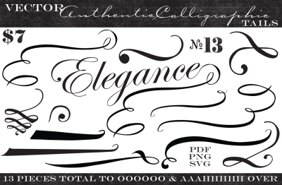 Vintage Vector Calligraphic Tails