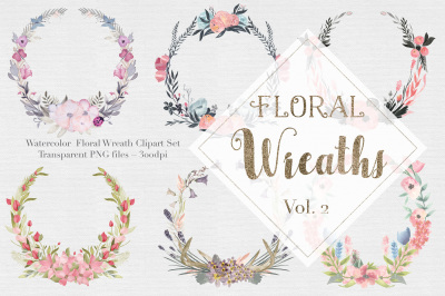 Watercolor Floral Wreaths Vol.2