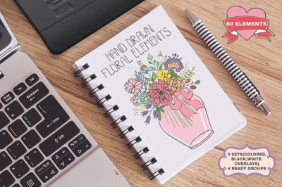 Doodle flowers. Hand drawing vector01