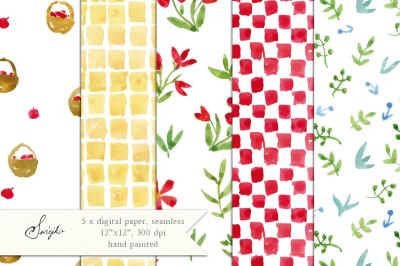 Watercolor Digital Paper, Watercolor Pattern, Seamless, Floral Paper