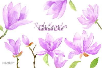 Watercolor Purple Magnolia