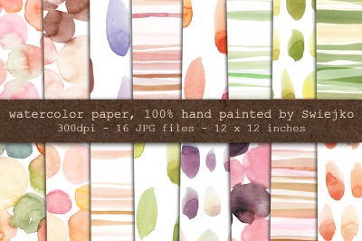 Watercolor Digital Paper, stripes, dots, brush strokes, bubbles, hand painted background