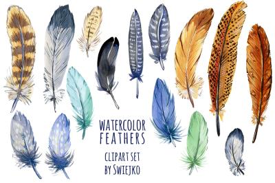 Boho Feathers Digital Clipart