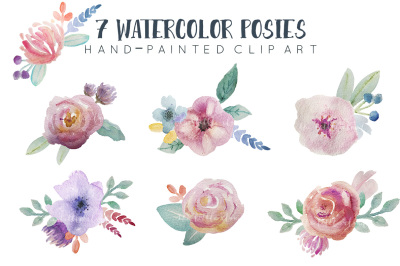 Watercolor floral clipart, pre-arranged posies