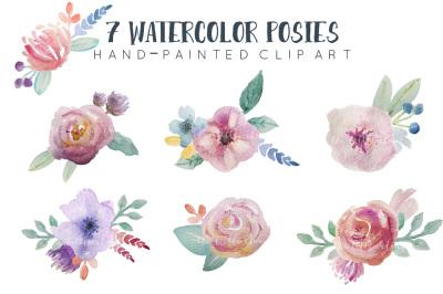 Watercolor floral clipart, pre-arranged posies