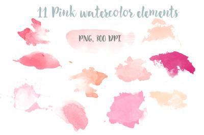 Pink watercolor elements clip art