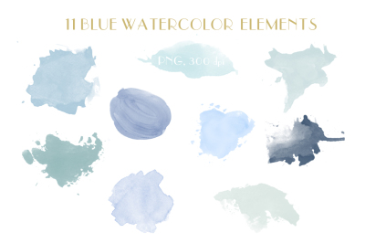 blue watercolor elements