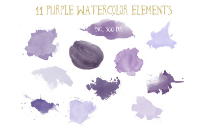 Purple watercolor elements clipart