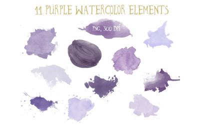 Purple watercolor elements clipart