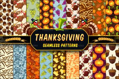 Thanksgiving Seamless Patterns Set