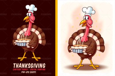 Thanksgiving Cartoon Turkey - Digital Painting