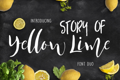 Yellow Lime Font Duo + Vector Doodle