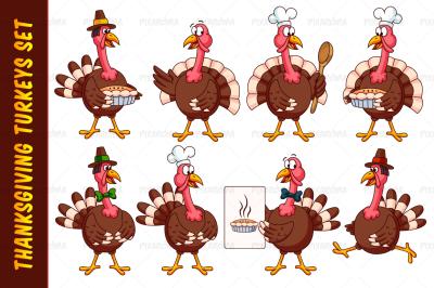 Thanksgiving Cartoon Turkeys Vector Set
